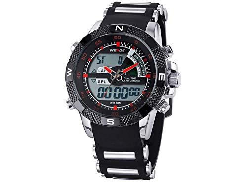 CursOnline Elegante reloj de pulsera para hombre WH-1104R doble horario digital y analógico, LED y cuarzo, correa de caucho suave, resistente al agua, luz LED, alarma y fecha. Color rojo.