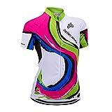 Manga Corta Ciclismo MTB Maillot para Mujer, Jersey Ropa Transpirable para Deportes al Aire Libre Ciclo Bicicleta (Barra de Colores, XL)