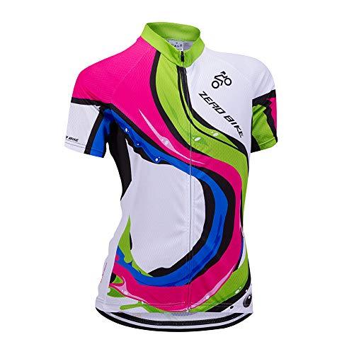 Donne Abbigliamento da Ciclismo, Traspirante Leggero e Comodo Maglie da Ciclismo, Asciugatura Rapida Maglietta Corta, 0016, S
