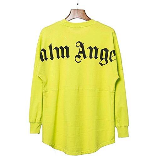 Hoodieswj Sweatshirt Herbst und Winter Graffiti Palm Angel Print Plus Casual Loose Pullover Paar Sweatshirt Unisex Hip-Hop Cotton,Fluorescent Green,M