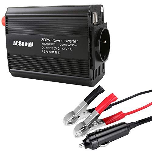 ACBungji Spannungswandler Wechselrichter Auto Wohnwagen Solar 12v auf 230v 300w Power Inverter DC zu AC inkl. Dual 2.1A USB Energieversorgung KFZ Zigarettenanzünder Stecker Krokodilklemmen Batterie
