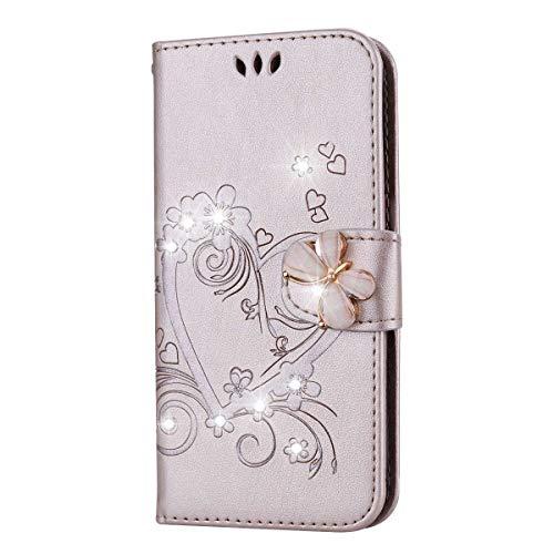 THRION Apple iPhone 6 Plus/iPhone 6S Plus Hülle, PU Herz Blume Brieftaschenetui mit magnetischer Handschlaufe und Ständerhalterung für Apple iPhone 6 Plus/iPhone 6S Plus, Rosa Gold