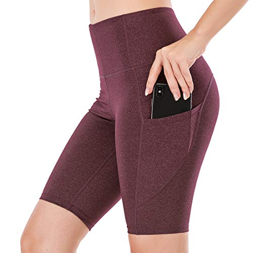 """Lianshp Yoga Shorts with Pockets for Women High Waist Tummy Control Athletic Workout Running Shorts 8"""" Wine Red L"""