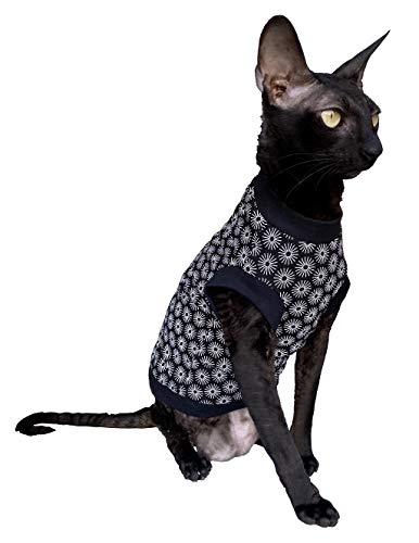 Kotomoda Hairless Cat's Cotton Stretch T-Shirt Black Spring for Sphynx Cats (XS)