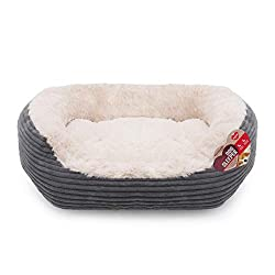 Our large dog bed is made from luxury grey cord and super soft cream plush Machine washable on a 30 degree, gentle cycle. Use mild detergent, do not bleach, iron or tumble dry This indoor snuggle pet bed is ideal for most large dog breeds Raised side...
