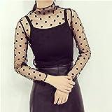 Candybarbar Sexy Black Mesh Transparentes T-Shirt mit hohem Kragen Langärmliges T-Shirt mit Grundierung und speziellem Muster für Frauen