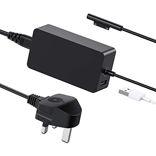 Surface Pro Charger 44W 15V 2.58A Power Supply Compatible Surface Pro 6 Pro 5 Pro 4 Pro 3 Surface Laptop Surface Go&Surface Book 1 & 2 with 5V USB Charging Port