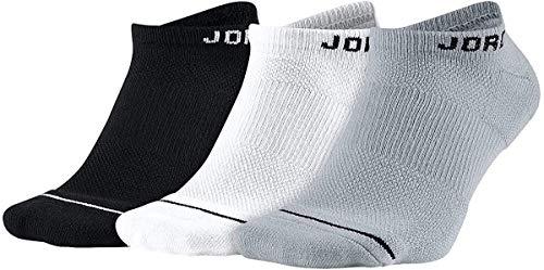 Nike U J Everyday MAX NS 3PR Socks, Black/White/Wolf Grey, L