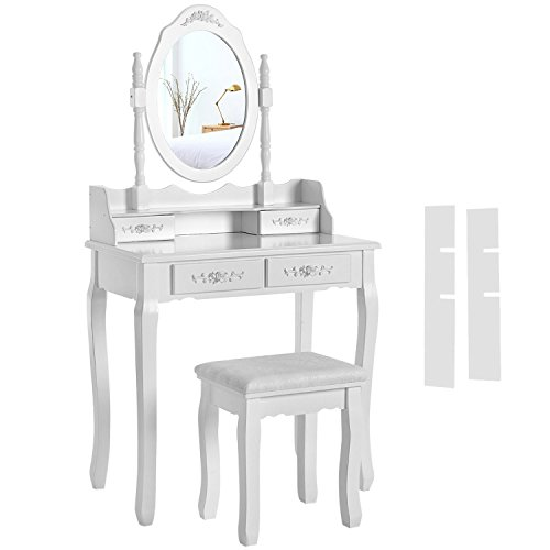 SONGMICS Coiffeuse, Table de maquillage, avec 1 Miroir, 4 Tiroirs et 1 Tabouret, Blanc RDT77F