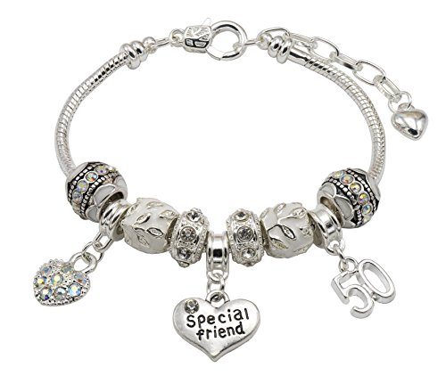 Jewellery Hut Special Friend Silver Plated Birthday Charm Bracelet with Gift Box - Ages Available 18th, 21st, 25th, 30th, 35th, 40th, 45th & 50th (50th)