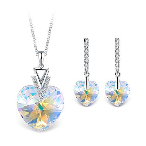 T400 Jewelers 'Mi Destino Collar con Colgante de corazón y Pendientes de leverback de Swarovski Elements Cristales Conjuntos de joyería de Moda para Mujer,45+5cm