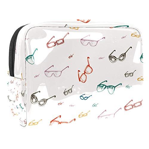 Bolsa de maquillaje de PVC con cremallera, bolsa de cosméticos impermeable con patrón de gafas retro vintage para mujeres y niñas