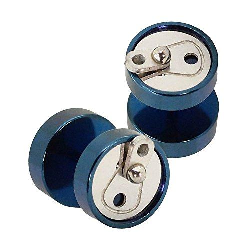 tumundo 2 Piezas Fakeplugs 10mm Aretes Acero Lata Color Azul Plata Túnel Oreja Piercing Ronda Falso Plug Pendientes Stud