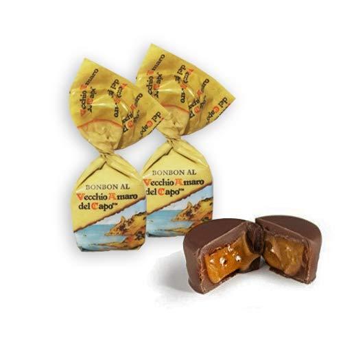 BONBON DI CIOCCOLATO AL VECCHIO AMARO DEL CAPO MARSUPIO 1KG Caffo Praline di cioccolato fondente ripiene con crema al gusto di Vecchio Amaro del Capo