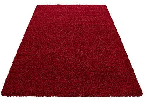 HMWD Modern Fluffy Thick Deep Pile Non-Slip Red Area Shaggy Rug Non-Shed Plain Super Soft Touch Floor Carpet For Living Room Bedrooms Small Medium Large XL Hallway Runner Mat - Available in 4 Sizes