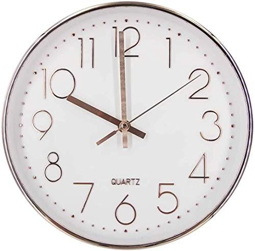 Delgeo Wanduhr 25,4 cm leise nicht tickende Uhr arabische Ziffern Uhr runde dekorative leise Wanduhr für Wohnzimmer, Schlafzimmer, Küche (Batterie nicht enthalten) - Rosegold …