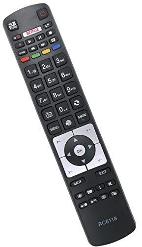 ALLIMITY RC5118 Télécommande remplacée pour Finlux Bush Continental Edison Haier LDF50V500S U65H7100 DLED48265FHDCNTD 32HPD274BT 40-FFA-5511 40FLSMR277BC 40FPD274BT 43UT3E310B-T
