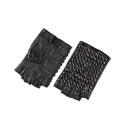 Guantes de cuero para mujer, medio dedo, guantes de conducción punk Guantes, Guantes BBQ, guantes de trabajo, (Color : Black, Size : M)