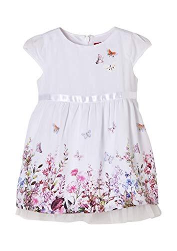 s.Oliver Unisex - Baby Festliches Kleid mit unterlegtem Mesh white 86