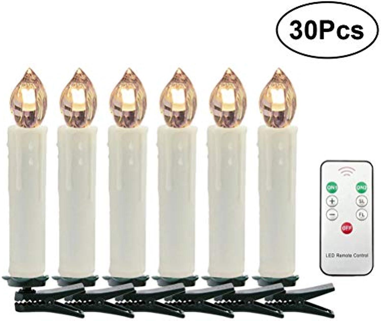 MoBesteech Led Drahtlose Fernbedienung Kerze Licht 7 Tasten knnen angepasst werden Dekorative Lichter Weihnachten Weddding 30 stücke (Warmwei)
