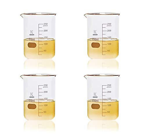 KENZIUM - Pack 4 x Vasos de Precipitados, de 250 ml | Vidrio Borosilicato 3.3, Forma Baja, Graduados, de Cristal con Boquilla, Para Líquidos, Alta Resistencia, Autoclavables, Vasos Medidores
