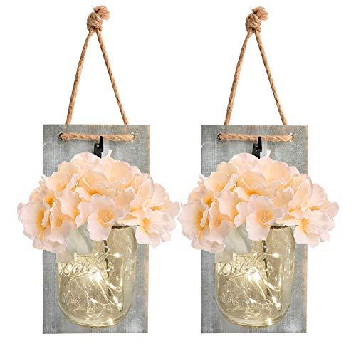 Lámpara de pared con temporizador de 6 horas LED y flores de hortensia de seda, decoración de pared para casa de granja o cocina, juego de 2