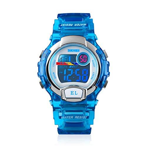 Despertador Los niños miran 50m relojes deportivos al aire libre a prueba de agua Relojes de adolescentes digitales con reloj de alarma LED luz y calendario relojes con banda de PU transparente Ideal