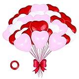 JAHEMU Corazones Látex Globos Amor Helio Globos 12 pulgadas Boda Partido Globos para Cumpleaños Novia Dar Regalos San Valentín Navidad Decoración 100pcs (blanco, Rosado y rojo)