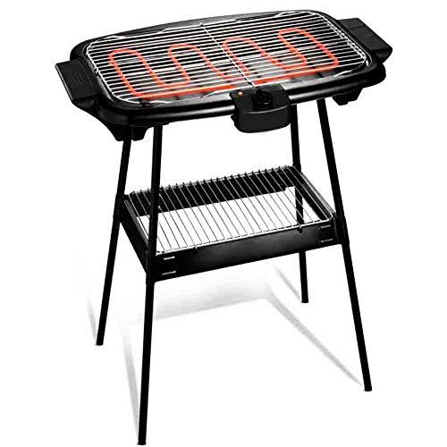 Cuisinier Deluxe Electric BBQ con pies de soporte y termostato ajustab