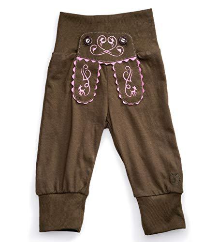 Schöneberger Trachten Couture Baby Stoffhose im Lederhosen Design – Babyhose mit elastischem Bund – Mädchen & Jungen Pumphose Kinderhose REH (86/92, Grün-Pink)