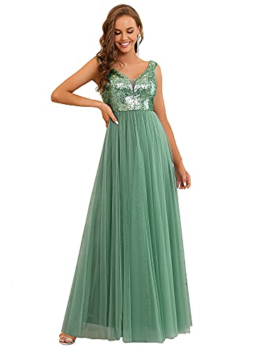 Ever-Pretty Womens Off Shouler Summer Cocktail Dresses for Wedding Long Mild Green US4