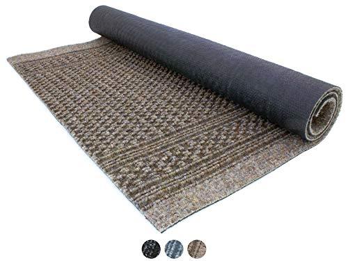 Primaflor - Ideen in Textil Schmutzfang-Läufer Meterware Aztec – Braun, 0,66m x 2,00m, Rutschfester, Robuster Sauberlauf-Teppich Schmutzfangteppich Eingangsmatte, Effektiver Küchen-Läufer