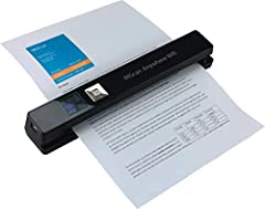 """Battery-powered and ultra-compact. No Computer or Cables needed to scan, scan up to 100 A4 documents on battery mode, scan directly to JPEG/PDF, scanning resolutions: 300/600/1200 dpi 1. 44"""" Tuft color display panel for instant scan preview, scanning..."""