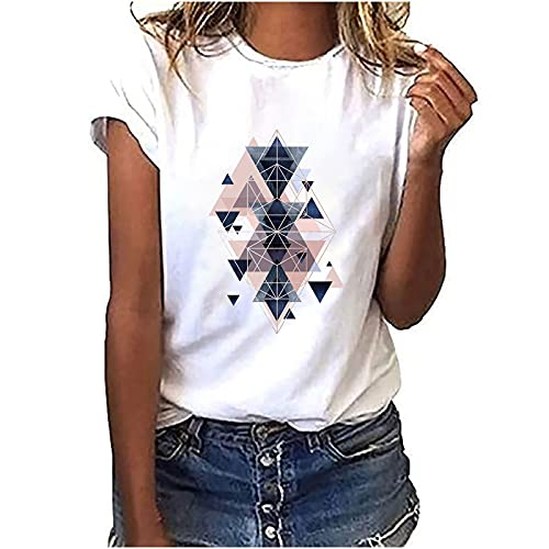 Gesix Blusa básica de verano para mujer, cuello redondo, informal, holgada, cuello redondo, cuello redondo, estampado geométrico, manga larga, camisa de moda, Blanco, L