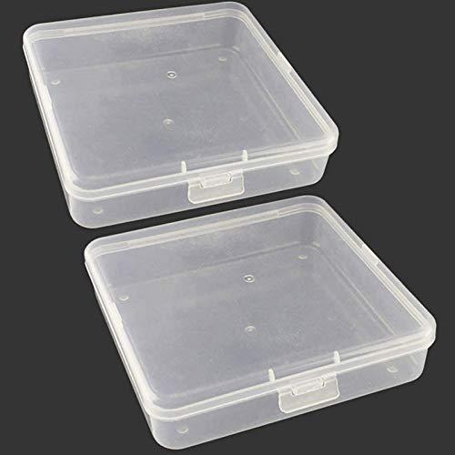 Qualsen 2 Piezas Cajas de plastico con Tapa, Organizador almacenaje Transparentes pequeñas para Tornillos, Abalorios, 13.2 x 13.2 x 3.3 cm
