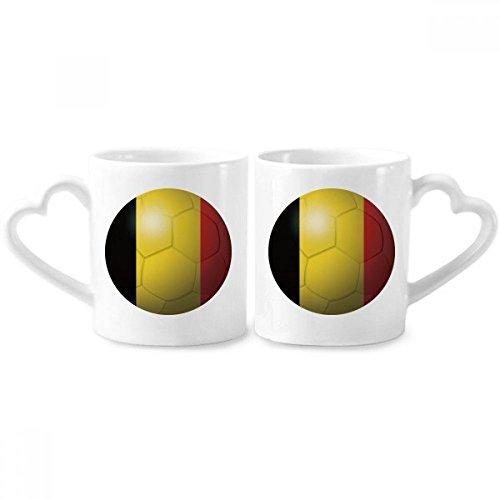 DIYthinker België nationale vlag voetbal wereldbeker paar mokken keramische liefhebber bekers hart handvat 12oz gift