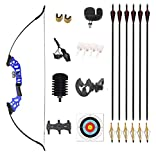 Monleap Recurve Bow and Arrows for Adults 30 40 50lb Archery Set Right Hand Takedown Bow Aluminum Alloy Riser Longbow Kit for Beginner Targeting Hunting Shooting (Blue,50lb)