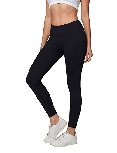 AJISAI Womens Workout Leggings High Waist Tummy Control Yoga Running Pants Color Black Size S