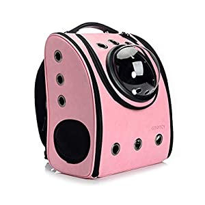 GINYICY Portable Travel Pet Carrier Backpack,Space Capsule Bubble Design,Waterproof Handbag Backpack for Cat and Small Dog,Airline Approved Pet Backpack Carrier (Pink)