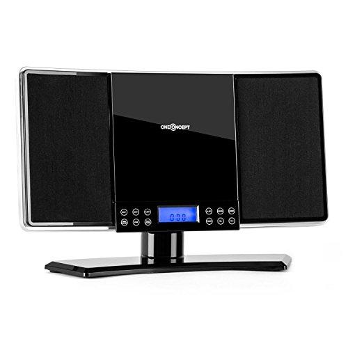 oneConcept V14 - mini impianto stereo compatto, lettore CD MP3, radio VHF, 20 stazioni, display LCD, AUX, sveglia, orologio, pannello touch, telecomando, montaggio parete, nero