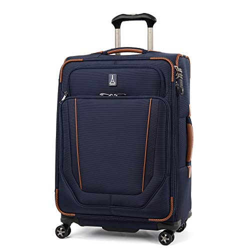Travelpro Crew Versapack-Softside Expandable Spinner Wheel Luggage, Patriot Blue, Checked-Medium 25-Inch