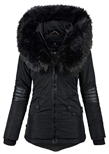 Navahoo Damen Winter Jacke Designer Parka Kunstfell Winterjacke B369 [B369-Nirvana-Schwarz-Gr.S]