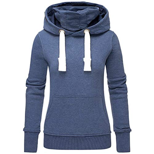 VEMOW Herbst Hoodies Damen Plus Size Langarm Casual Daily Sport Outdoors Freizeit Solid Damen Sweatshirt Kapuzenpullover Tops Shirt Winter Frühling(X1-Blau, 40 DE/L CN)