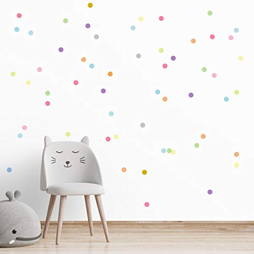Mini confeti de colores. Tonos pastel - Vinilos decorativos con mini lunares de colores