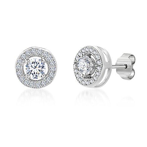 MIA SARINE Rhodium Plated Sterling Silver Round 1 1/2 Cttw Cubic Zirconia Circle Halo Stud Earrings for Women