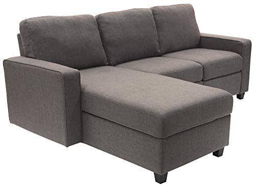 Serta Palisades Reclining Sectional Sofa with Left Storage Chaise, Small Couch with Built-In Storage, Low-Maintenance & Family-Friendly Fabric, Gray