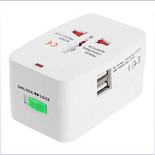 Y&J Adaptador Universal, Universal Conversión del Recorrido del Enchufe USB de Doble Adaptador del zócalo del convertidor de energía de Estados Unidos/Salida/UK/AU Tipo de Enchufe 5V 1A de la UE