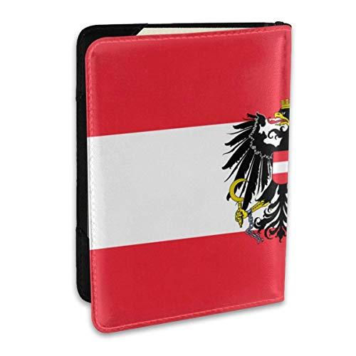 Reisepasshülle Österreich Staatsflagge PU Leder Reisebrieftasche Sperrkarte Brieftasche Reisepasshüllen 6,5 Zoll