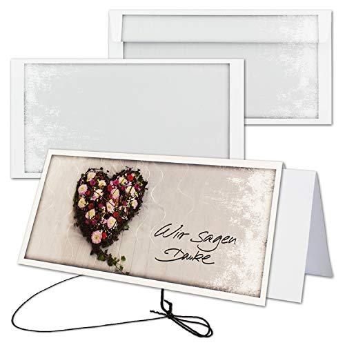 25x Trauerkarte mit Umschlag Set Danksagung - Blumen-Herz - inklusive hochwertiger Box- DIN Lang Quer-Format - Danksagungskarten Trauerkarten nach Beerdigung - Trauer-Papiere by Gustav NEUSER