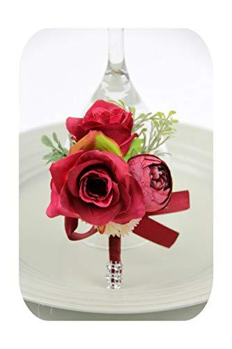 Hopereo Red Boutonniere - Corsages para dama de honor, color rojo
